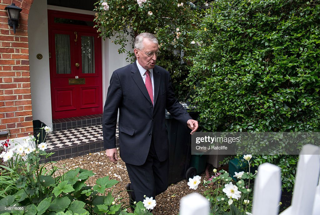 Former Shadow Foreign Secretary Hilary Benn eaves his home in North London and briefly speaks to a television reporter this morning on June 26, 2016 in London, England. Mr Benn has been sacked from the shadow cabinet by Labour party leader Jeremy Corbyn following fall out from the EU referendum.