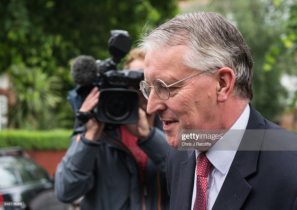 Former Shadow Foreign Secretary Hilary Benn leaves his home in North London and briefly speaks to a television reporter this morning on June 26, 2016 in London, England. Mr Benn has been sacked from the shadow cabinet by Labour party leader Jeremy Corbyn following fall out from the EU referendum.