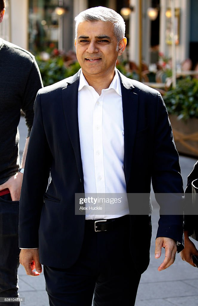 Former Shadow Minister Sadiq Khan seen arriving at the Global Radio Studios on May 4, 2016 in London, England.