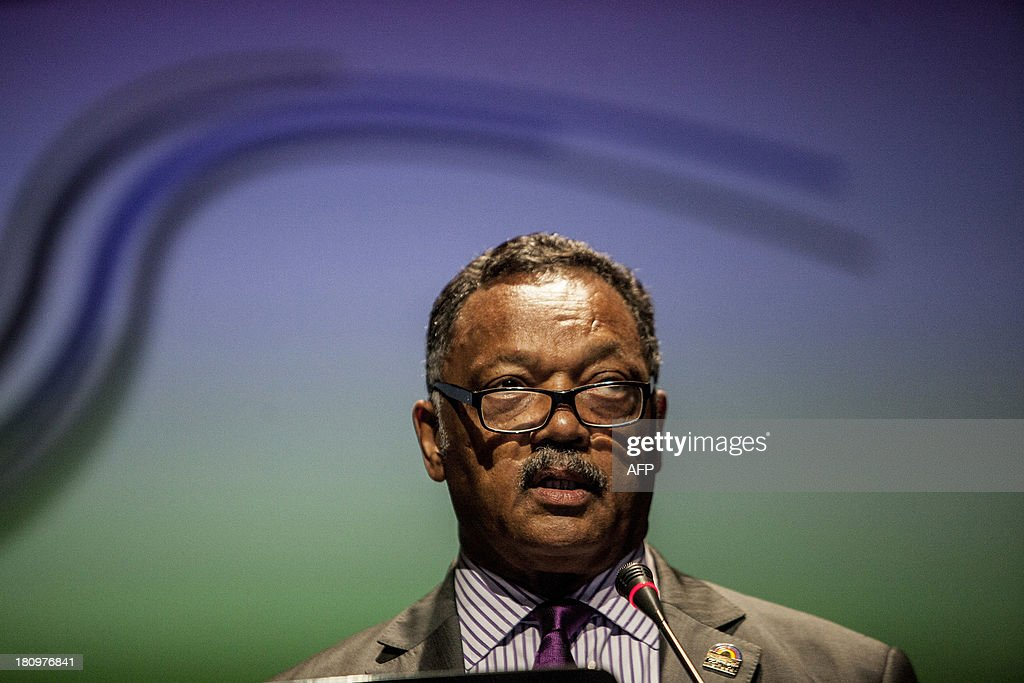 US former Shadow Senator of the District Columbia and Human Rights activist, Jesse Jackson speaks during the closing ceremony of the 3rd Global Summit of Mayors and Governors of African descent at the Julio Cesar Turbay Convention Center in Cartagena, Colombia on September 18, 2013. AFP PHOTO/Joaquin Sarmiento