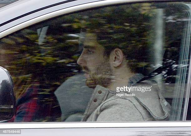 Former Sheffield United footballer Ched Evans is seen after his release from prison at Alderley Edge in Cheshire on October 20 2014 in Alderley Edge...