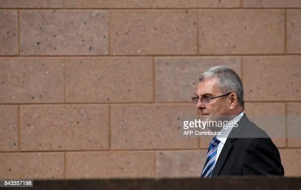 Former Sheffield Wednesday Football Club secretary Graham Mackrell leaves court in Preston on September 6 2017 Five men charged over the Hillsborough...