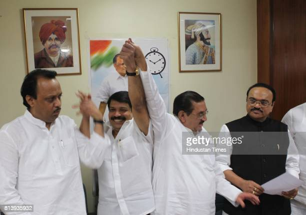 Former Shiv Sena MLC Kiran Pawaskar joined the NCP party on Thursday Present on the occasion were Deputy CM Ajit Pawar NCP state President Madhukar...