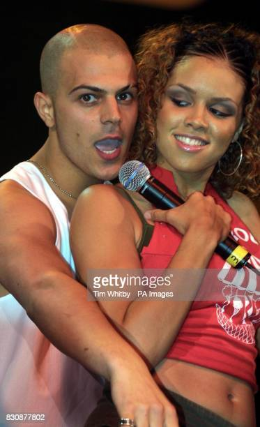 Former singer with the boy band Five Abs real name Richard Breen performing with a dancer at the Feel The Noise Live at Wembly Arena
