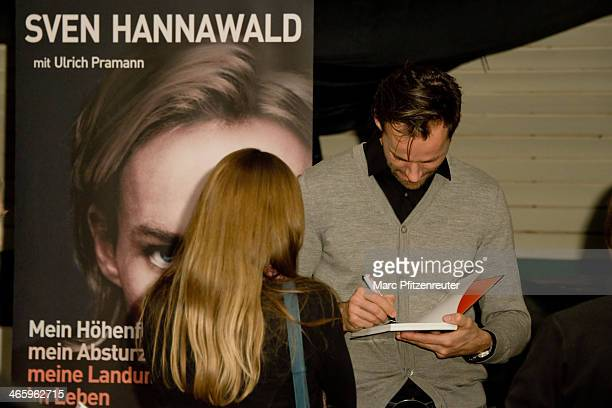 Former ski jumper Sven Hannawald autographs his book 'Mein Hoehenflug mein Absturz meine Landung im Leben' at the Thalia Bookstore on January 30 2014...