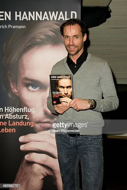 Former ski jumper Sven Hannawald presents his book 'Mein Hoehenflug mein Absturz meine Landung im Leben' at the Thalia Bookstore on January 30 2014...
