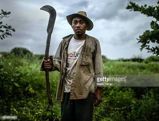 Former slave Francisco Rodrigues dos Santos poses with his sickle on the piece of land where he lives and farms at the Nova Conquista settlement on...