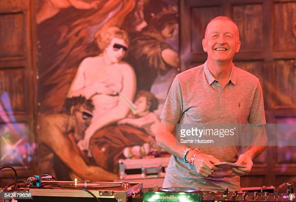 Former snooker player Steve Davis performs at Glastonbury Festival 2016 at Worthy Farm Pilton on June 22 2016 in Glastonbury England