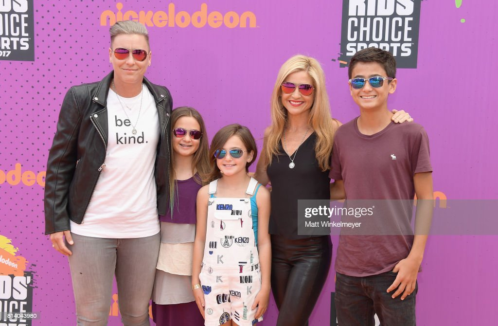 Former soccer player Abby Wambach (L), writer Glennon Doyle Melton (2nd from L) and guests attend Nickelodeon Kids' Choice Sports Awards 2017 at Pauley Pavilion on July 13, 2017 in Los Angeles, California.
