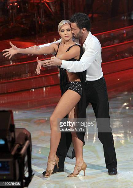 Former soccer player Christian Panucci and his dance partner Agnese Junkure perform on the Italian TV show 'Ballando Con Le Stelle' at RAI Auditorium...