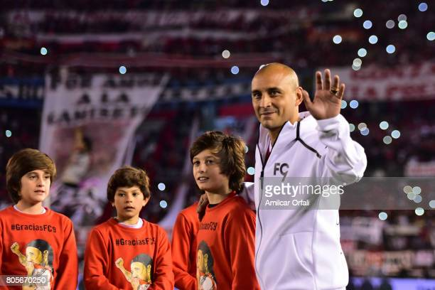 Former soccer player Cristian Ledesma walks onto the field prior Fernando Cavenaghi's farewell match at Monumental Stadium on July 01 2017 in Buenos...
