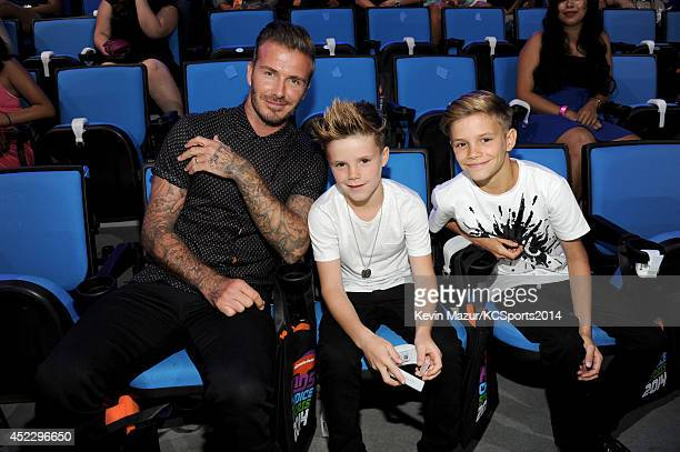 Former soccer player David Beckham Cruz David Beckham and Romeo James Beckham attend Nickelodeon Kids' Choice Sports Awards 2014 at UCLA's Pauley...