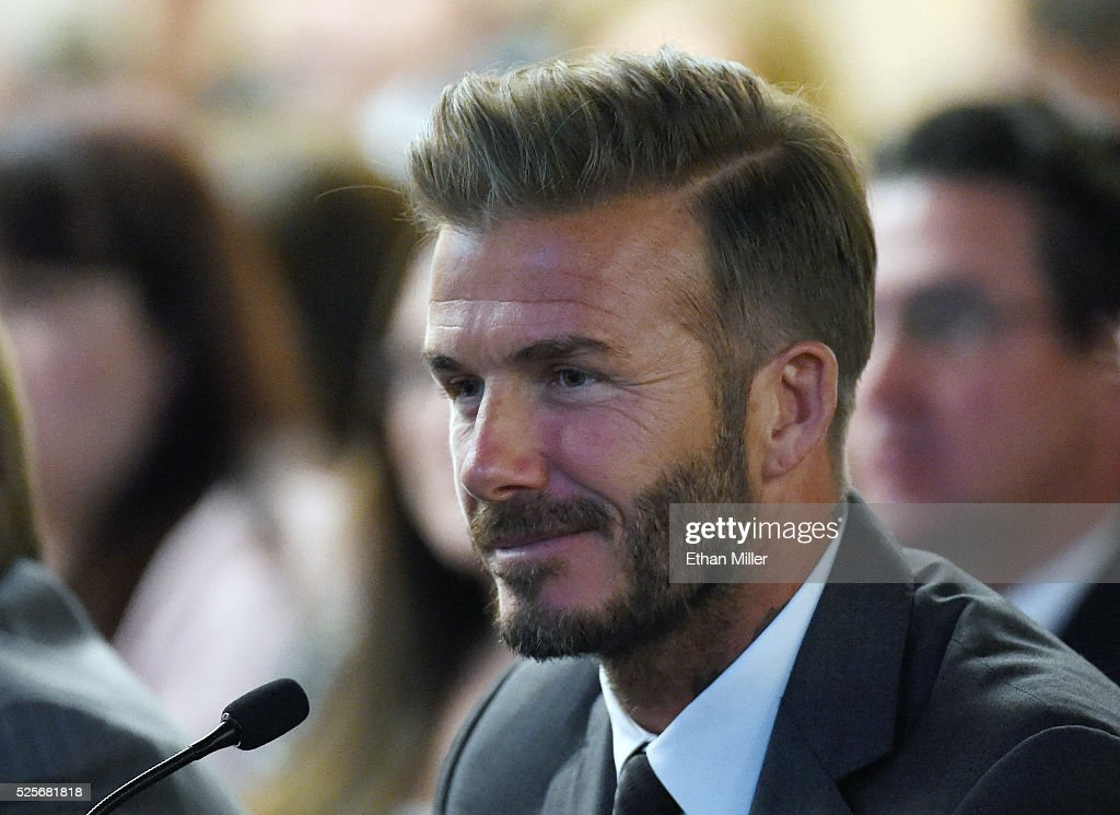 Former soccer player David Beckham looks on during a Southern Nevada Tourism Infrastructure Committee meeting with Oakland Raiders owner Mark Davis (not pictured) at UNLV on April 28, 2016 in Las Vegas, Nevada. Davis told the committee he is willing to spend USD 500,000 as part of a deal to move the team to Las Vegas if a proposed USD 1.3 billion, 65,000-seat domed stadium is built by casino magnate Sheldon Adelson's Las Vegas Sands Corp. and real estate agency Majestic Realty, possibly on a vacant 42-acre lot a few blocks east of the Las Vegas Strip recently purchased by UNLV.