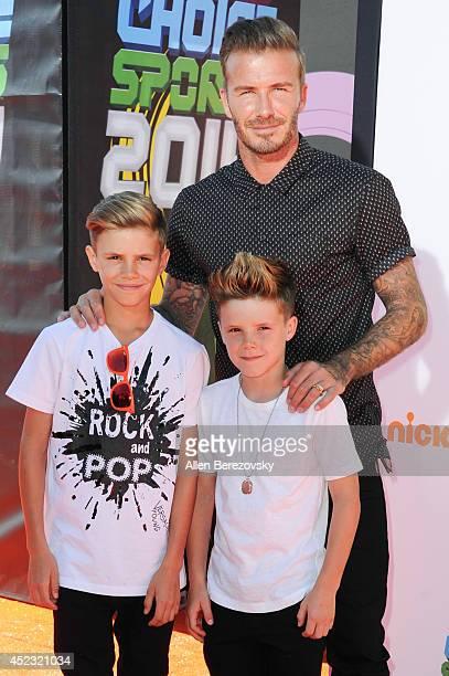 Former soccer player David Beckham Romeo James Beckham and Cruz David Beckham attend Nickelodeon Kids' Choice Sports Awards 2014 at Pauley Pavilion...