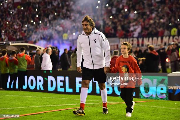 Former soccer player Enzo Francescoli enters to the pitch during Fernando Cavenaghi's farewell match at Monumental Stadium on July 01 2017 in Buenos...