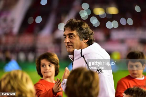 Former soccer player Enzo Francescoli looks on prior Fernando Cavenaghi's farewell match at Monumental Stadium on July 01 2017 in Buenos Aires...