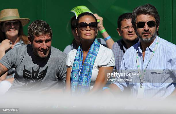 Former soccer player Martin Palermo his girlfriend Jessica Geneux and actor Ricardo Darin during the match between Argentina and Croatia for the...