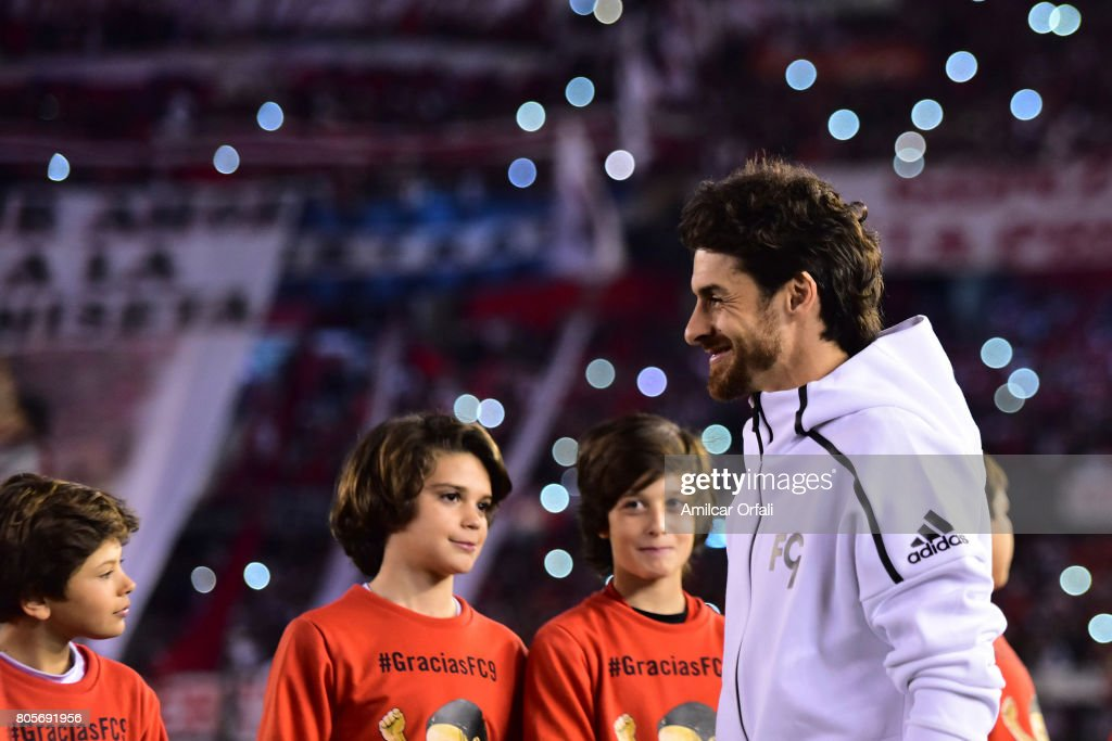 Former soccer player Pablo Aimar walks onto the field prior Fernando Cavenaghi's farewell match at Monumental Stadium on July 01, 2017 in Buenos Aires, Argentina.