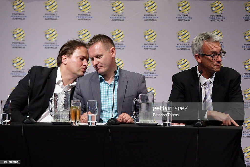 Former Socceroo, Mark Bosnich, Head of Hyundai A-League, Damien de Bohun and FFA CEO, David Gallop address football fans during the FFA Australian Football Fan Forum at The Star on February 12, 2013 in Sydney, Australia.