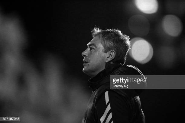 Former Socceroo Mark Rudan coach of Sydney United 58 looks on during the NSW NPL Men's match between Sutherland Sharks FC and Sydney United 58 on...