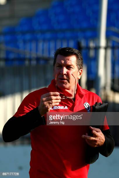 Former Socceroo playe now coach of Parramatta FC Marshall Soper gives instructions during the NSW NPL Men's match between Sydney Olympic FC and...