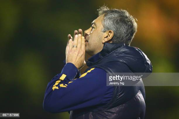 Former Socceroo player Mark Rudan of United 58 instructs his players during the NSW NPL Men's match between Sutherland Sharks FC and Sydney United 58...
