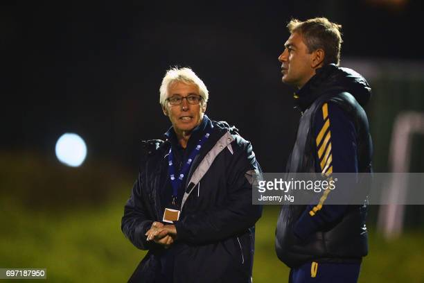 Former Socceroos Mark Rudan and Grant Lee speaks prior to the NSW NPL Men's match between Sutherland Sharks FC and Sydney United 58 on June 17 2017...
