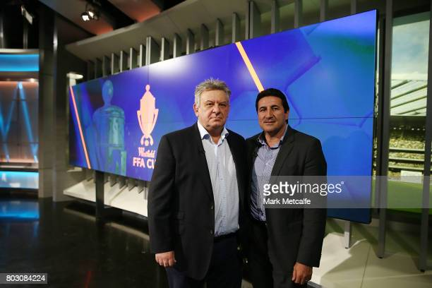former Socceroos Peter Raskopoulos and Charlie Yankos pose before the FFA Cup Round of 32 Official Draw on June 29 2017 in Sydney Australia