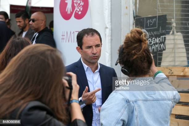 Former socialist presidential candidate now leader of the quotmouvement du 1er juilletquot Benoit Hamon takes part in a debate during the Festival of...