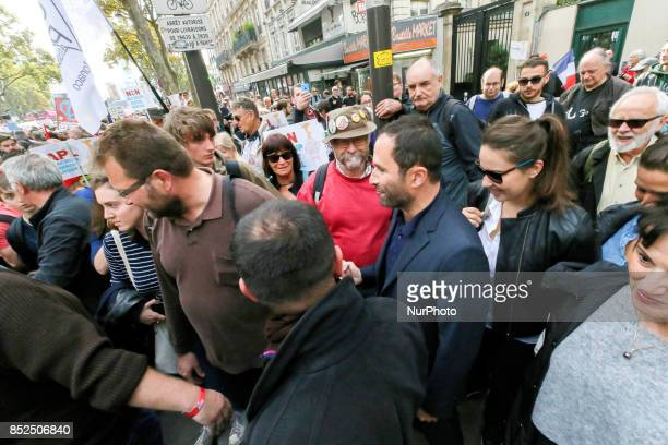 Former socialist presidential candidate now quotFirst of July movementquot left wing movement leader Benoit Hamon joins a protest organized in Paris...