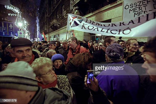 Former Socialist Prime Minister Ferenc Gyurcsany of the Democratic Coalition Party talks with people at the State Opera House of Budapest as tens of...
