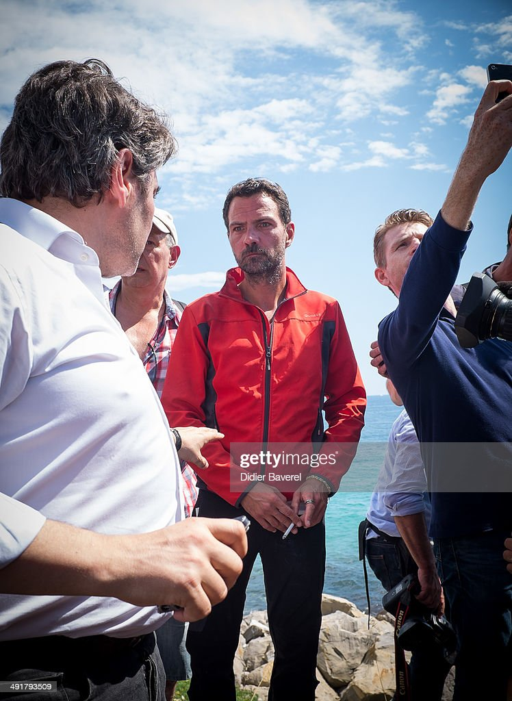 Former Societe General Bank trader Jerome Kerviel arrives near the French Border on May 17 2014 in Ventimiglia Italy The former trader is facing...
