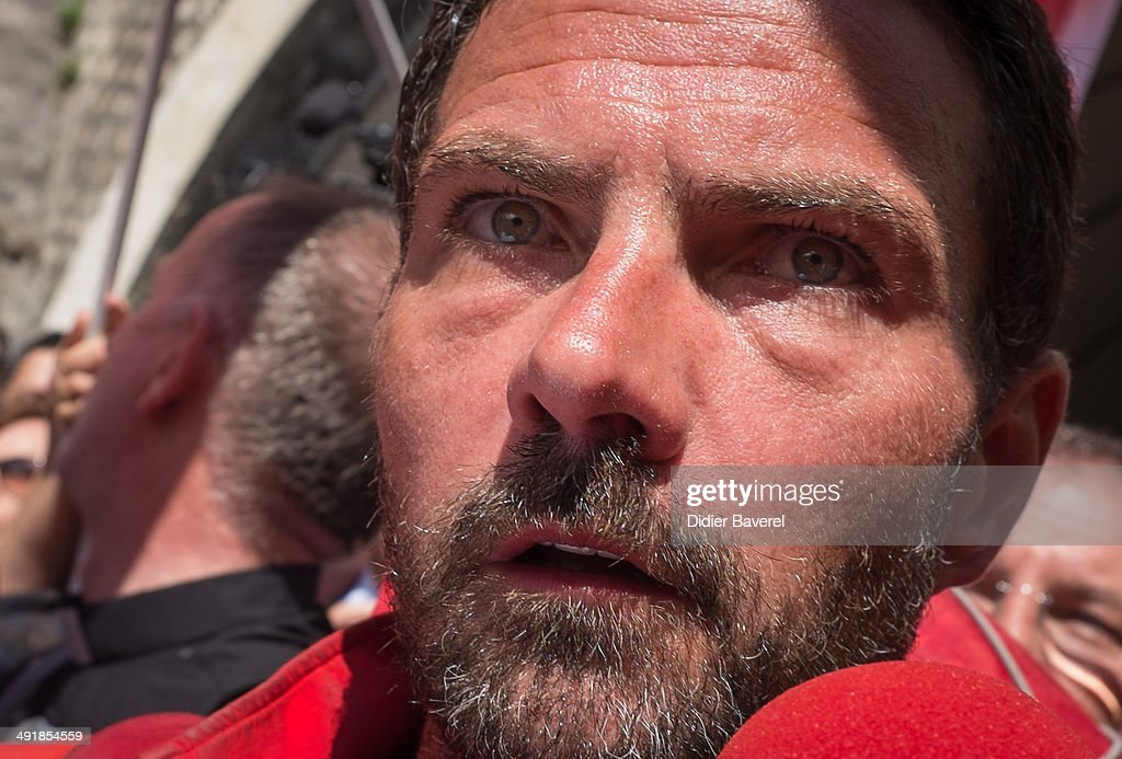 Former Societe General Bank trader Jerome Kerviel arrives near the French Border where he is waited by Police on May 17 2014 in Ventimiglia Italy
