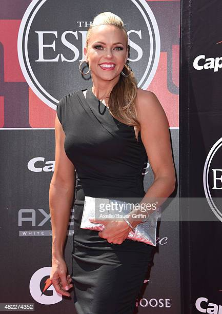 Former softball player Jennie Finch arrives at The 2015 ESPYS at Microsoft Theater on July 15 2015 in Los Angeles California