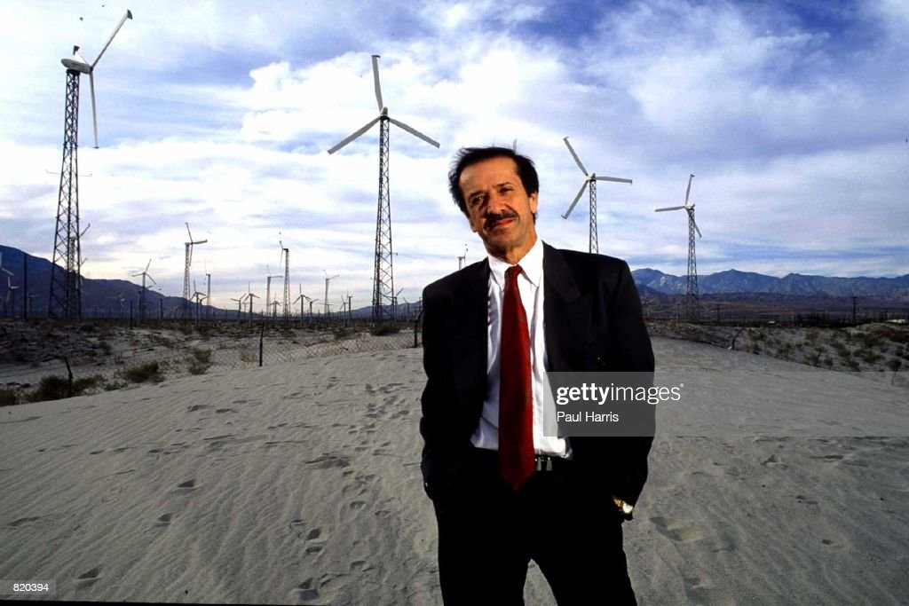 Former 'Sonny and Cher' star Sonny Bono the mayor of Palm Springs CA poses for a portrait near an electricity generator in the desert plains of Palm...
