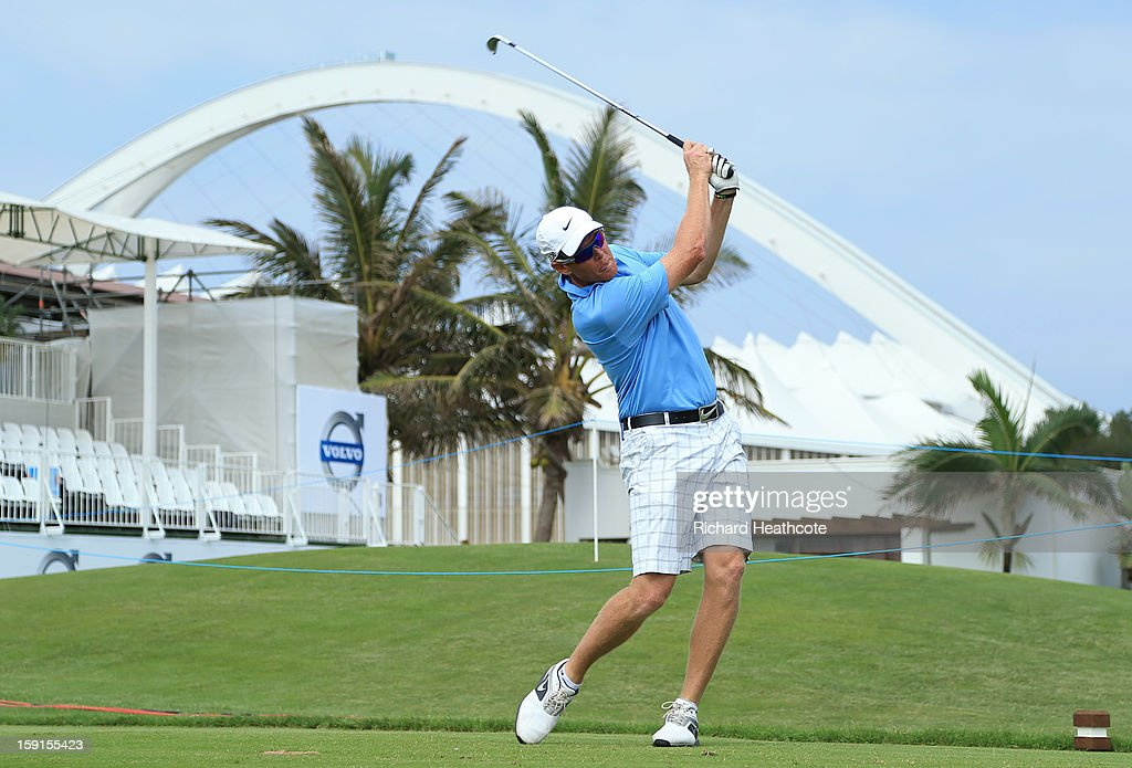Former South Africa cricketer Shaun Pollock hits a tee shot during the Pro-Am for the Volvo Champions at Durban Country Club on January 9, 2013 in Durban, South Africa.