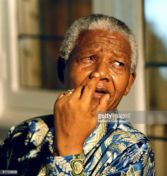 Former South African president Nelson Mandela at a press conference at his office in Houghton to commemorate 10 years of freedom since his release...