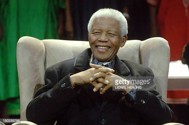 Former South African President Nelson Mandela sits at the Annual Nelson Mandela Lecture on July 12 2008 in Soweto Johannesburg Liberian President...
