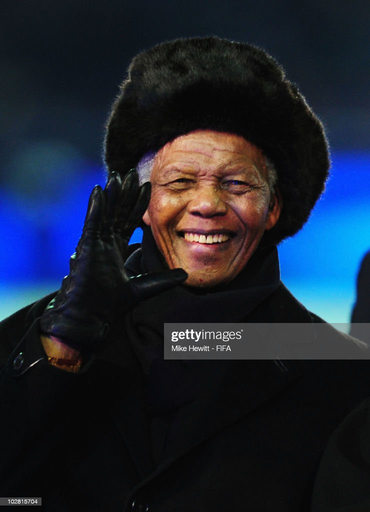 Former South African President Nelson Mandela waves during the closing ceremony before the 2010 FIFA World Cup South Africa Final match between Netherlands and Spain at Soccer City Stadium on July 11, 2010 in Johannesburg, South Africa.