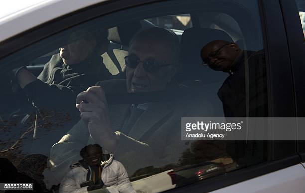 Former South African President Nelson Mandela's friend Ahmed Kathrada leaves the polling station after he casted his vote within South Africa...