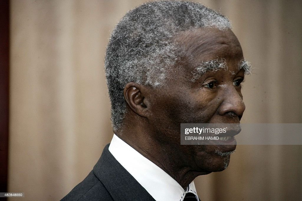 Former South African President <a gi-track='captionPersonalityLinkClicked' href=/galleries/search?phrase=Thabo+Mbeki&family=editorial&specificpeople=160910 ng-click='$event.stopPropagation()'>Thabo Mbeki</a> arrives for a meeting with Sudanese President Omar al-Bashir at the Presidential palace in Khartoum on August 3, 2015.