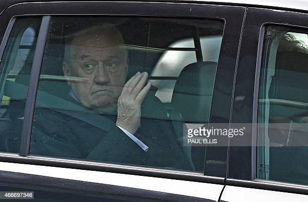 Former South Yorkshire Police chief superintendent David Duckenfield waves as he leaves the coroner's court in Warrington northwest England on March...
