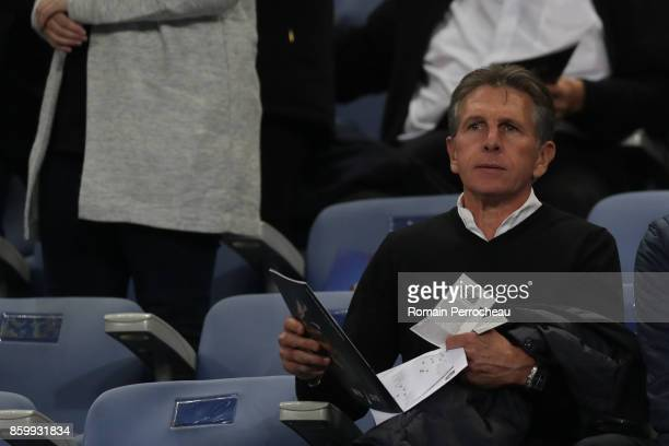 Former Southampton Head coach Claude Puel looks on before the FIFA 2018 World Cup Qualifier between France and Belarus at Stade de France on October...