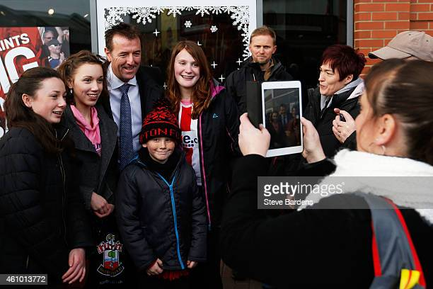 Former Southampton player Matt Le Tissier poses with fans prior to kickoff during the FA Cup Third Round match between Southampton and Ipswich Town...
