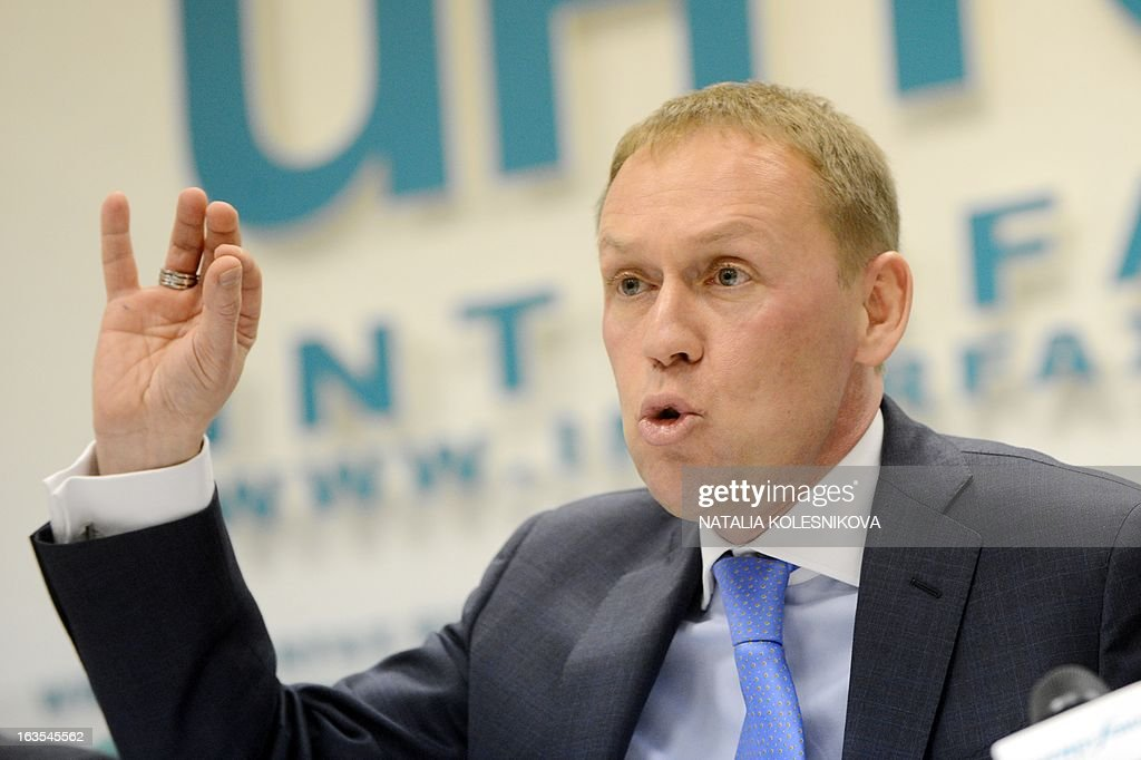 Former Soviet KGB agent and current Russian parliamentarian Andrei Lugovoi gestures while speaking at a press conference in Moscow, on March 12, 2013. Lugovoi is Britain's main suspect in the 2006 polonium poisoning in London of Kremlin critic Alexander Litvinenko.