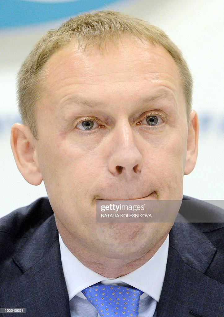 Former Soviet KGB agent and current Russian parliamentarian Andrei Lugovoi attends a press conference in Moscow, on March 12, 2013. Lugovoi is Britain's main suspect in the 2006 polonium poisoning in London of Kremlin critic Alexander Litvinenko. AFP PHOTO / NATALIA KOLESNIKOVA