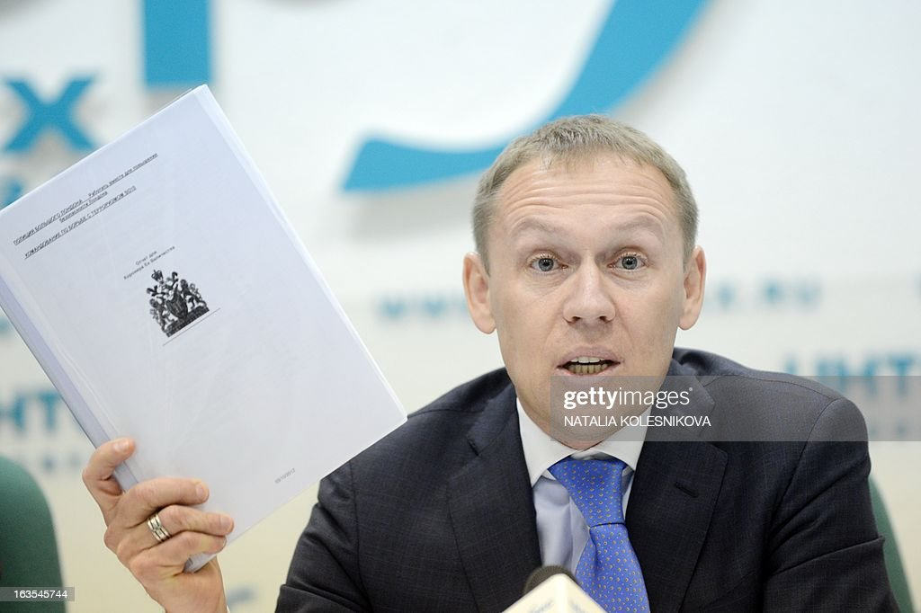Former Soviet KGB agent and current Russian parliamentarian Andrei Lugovoi attends a press conference in Moscow, on March 12, 2013. Lugovoi is Britain's main suspect in the 2006 polonium poisoning in London of Kremlin critic Alexander Litvinenko.