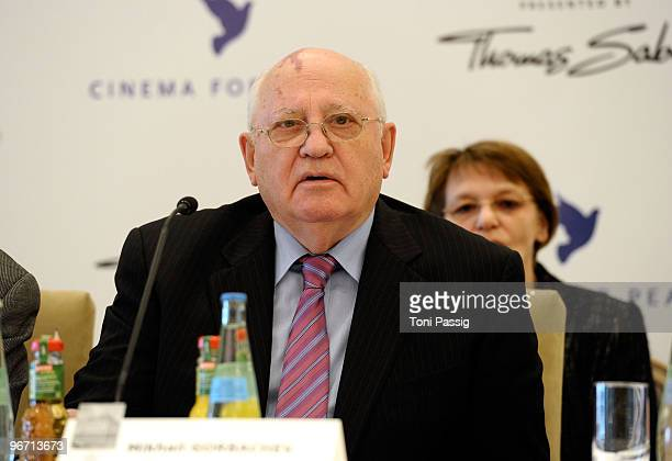 Former Soviet President Mikhail Gorbachev attends the 'Annual Cinema For Peace Gala' Press Conference during day five of the 60th Berlin...