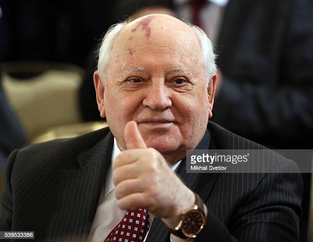 MOSCOW RUSSIA JUNE 12 Former Soviet President Mikhail Gorbachev attends the awarding ceremony at the Grand Kremlin Palace on June 2016 in Moscow...