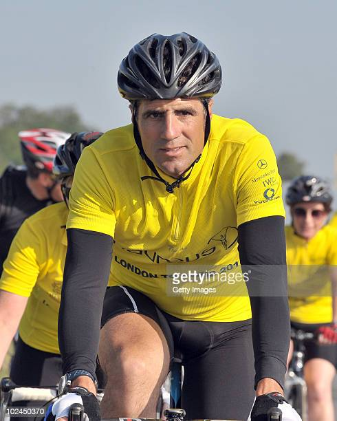 Former Spanish Cycling Champion Miguel Indurain attends the 2010 London to Paris Bike Ride for the Laureus Sport for Good Foundation on June 26 2010...